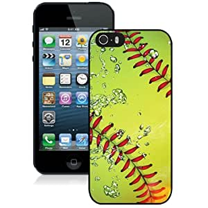 Beautiful And Unique Designed Case For iPhone 5 With Softball Fire And Ice Black Phone Case