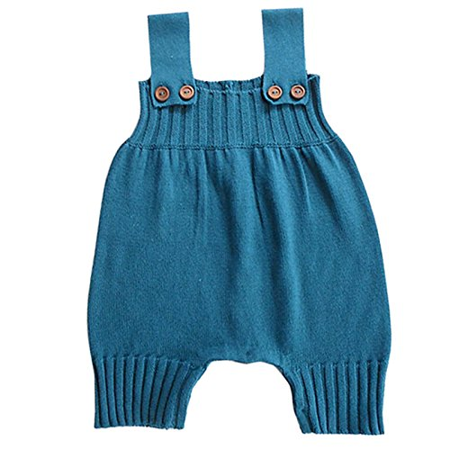 Wennikids Baby Girls Boys Sweater Shoulder Strap Romper Medium Blue