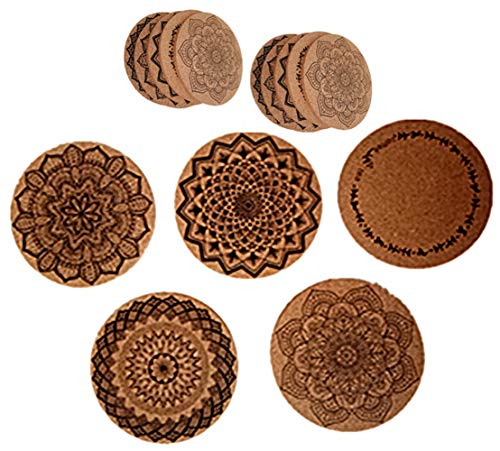 Set of 10 Natural Absorbent Cork Coasters With Round Edge,Eco-Friendly,Heat-Resistant, Reusable Saucers for Cold Drinks,Wine Glasses,Cups & Mugs (10)