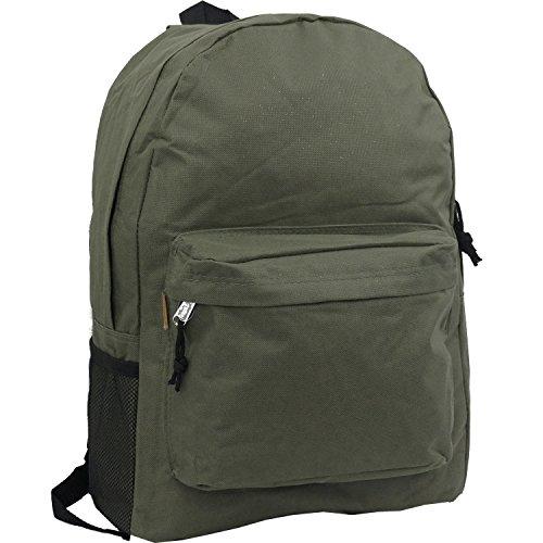 37b5e8ad92cd 18in Classic Basic Backpack Simple School Book Bag Vintage Emergency  Survival Daypack w Padded Back Side Pocket Olv - Buy Online in Oman.