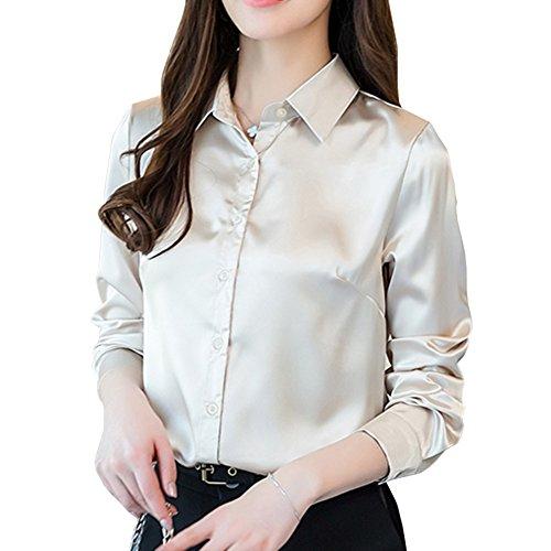 YOUMU Women Satin Silk Long Sleeve Button-Down Shirt Formal Work Blouse (Ch Silk Shirt)