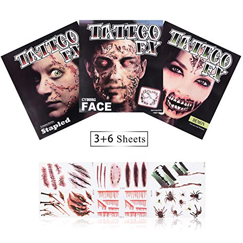 Halloween Tattoos Scar Tattoos - Face Forever Halloween Scary Tattoo Makeup Kit 3(Large)+6(Small) Pack Big Mouth Tattoo Cyborg Face Trauma Series Stapled Tattoo Waterproof Safty for Kids -