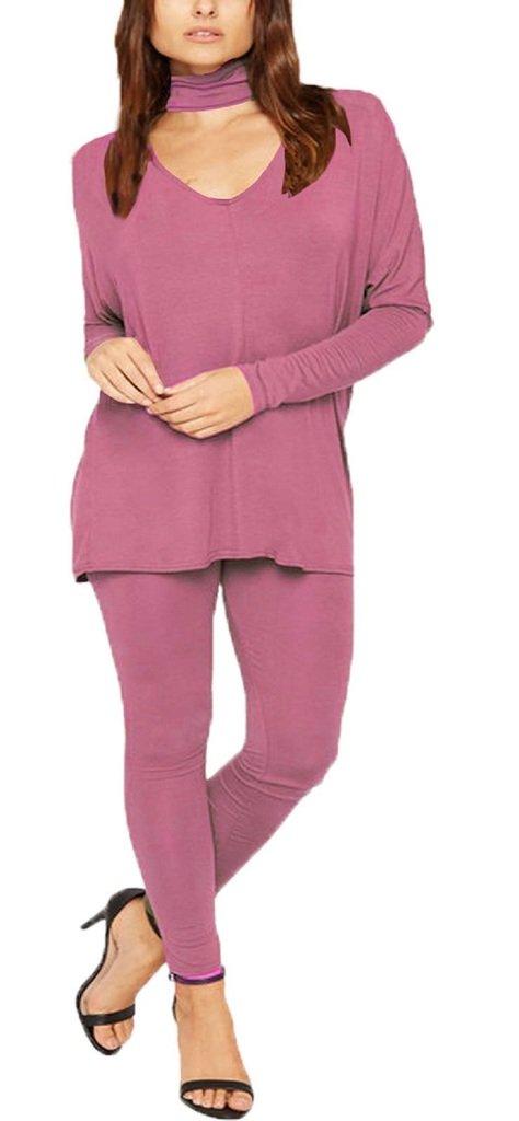 F&F Womens Ladies Chocker Neck Long Sleeve Top Legging Bottoms Tracksuit Loungewear (SM, Rose Pink) by Fashion & Freedom