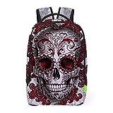 Ecurson Women Men 3D Galaxy Punk Style Skull Print Travel Satchel Backpack Rucksack Shoulder Bookbag School Bag (Red)