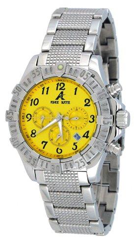 Adee Kaye #AK7140-M Men's Stainless Steel Yellow Dial Chronograph Watch (Kaye Watch Chronograph Mens Steel)