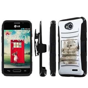 NakedShield LG Optimus L70 (Funny Cat) Combat Tough Holster KickStand Armor Phone Case