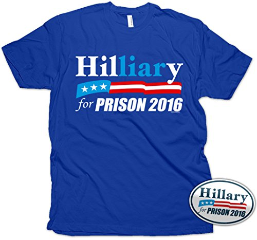 Vipergraphics Hillary for Prison T-Shirt & Sticker Men's Clinton Liar TShirt X-Large