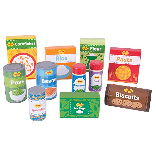 Bigjigs Toys Wooden Cupboard Groceries - Pretend Food and Role Play for ()