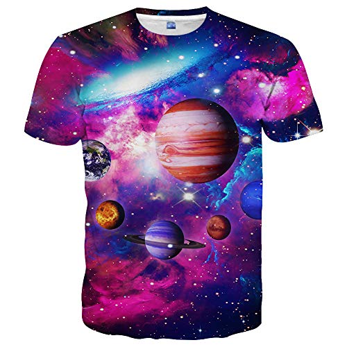 Yasswete Unisex 3D Outer Space Planet Printed Womens Mens Tshirts Size XL