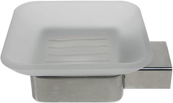 Ambrosya/® Cuarto de ba/ño Titular de Vidrio Jabonera WC Acero Inoxidable Cepillado Exclusivo jabonera de Acero Inoxidable