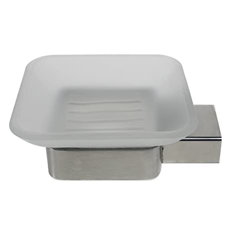 Amazon.com: QT moderno cuarto de baño jabonera de pared de ...