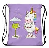 StylesILove My Unicorn World Graphic Print Gym Girls Womens Drawstring Backpack (Mailbox Purple) offers