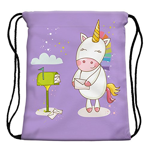 StylesILove My Unicorn World Graphic Print Gym Girls Womens Drawstring Backpack (Mailbox Purple)