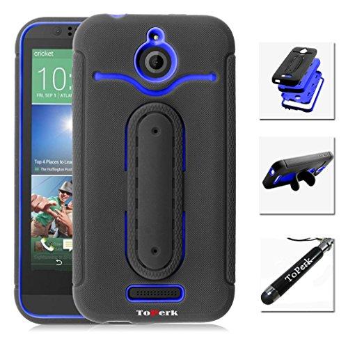 HTC Desire 510 Case, RUGGED Dual Layer Armor Case With U Shape Stand & Stylus Pen As Bundle Sale - Black/Blue