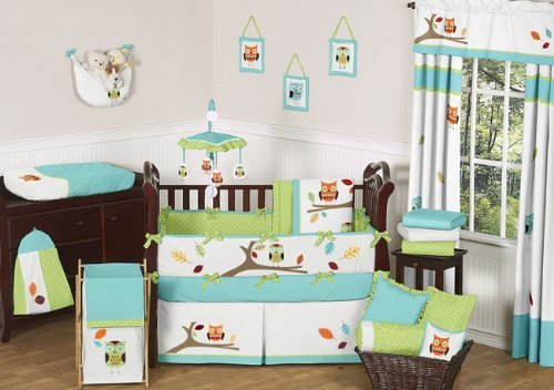 Sweet Jojo Designs 9-Piece Turquoise and Lime Hooty Owl Unisex Baby Boy or Girl Bedding Crib Set