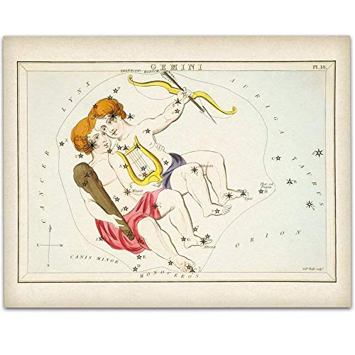 Gemini Zodiac Antique Constellation Art Print - 11x14 Unframed Art Print - Great Home Decor or Gift Under $15 to Astrology Enthusiasts