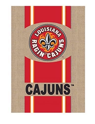Evergreen NCAA Burlap House Flag (Louisiana-Lafayette Ragin' Cajuns) (Lafayette Hanging Outdoor)
