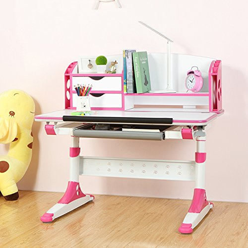 I STUDY Children's Study Desk Multifunctional Height Adjustable Work Station w/ Drawers (Magenta) by Kinbor