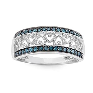 1/4 CTTW Sterling Silver, Heart Ring in Blue Diamonds