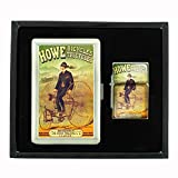 Cigarette Case Oil Lighter Gift Set Vintage Poster D-150 Howe Bicycles Tricycles Howe Machine
