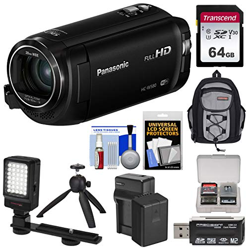 - Panasonic HC-W580 Twin Wi-Fi HD Video Camera Camcorder with 64GB Card + Battery & Charger + Backpack + LED Light + Tripod Kit