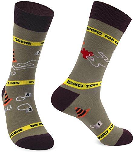 Police Design - Delisocks Mens Colorful Cool Design Police Line Casual Cotton Novelty Crew Socks; 7-12