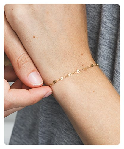 Gold Handmade Link Chain (Fremttly Handmade Delicate Lace Chain Bracelet 14K Gold Fill Minimal Layering Bracelet Stacking Bracelet Layered-BR-1-Lace)