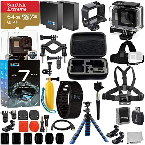 GoPro HERO7 Hero 7 Black Action Camera and Deluxe Accessory Bundle - Includes: SanDisk Extreme 64GB microSDHC Memory Card + Underwater Housing + Activity Watch & Much More from Go