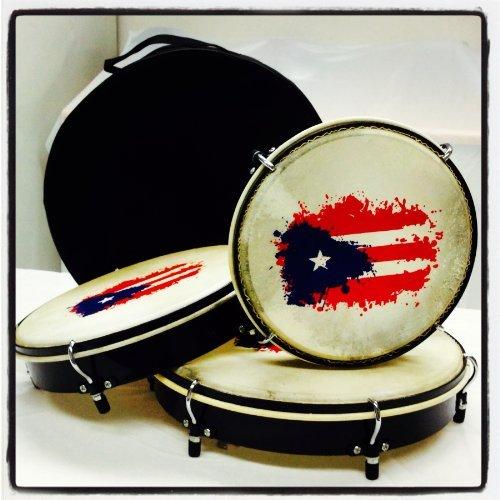 Set de Panderos - Pleneras de PVC con Bandera de Puerto Rico by Mano Percussion
