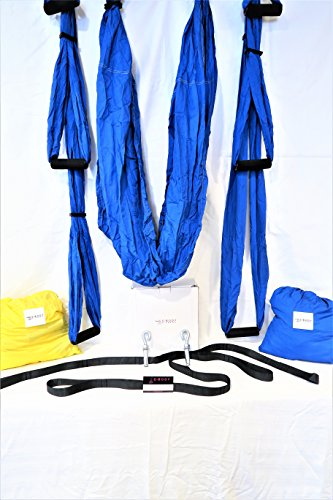 S Body Fitness PREMIUM QUALITY yoga inversion swing trapeze with straps and hooks set 5 Meditation DVDs aerial silk material this hammock is great for use indoor
