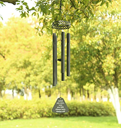 "Agirlgle Wind Chimes Outdoor Large Black 30""Windchimes Garden Amazing Grace with 5 Aluminum Alloy Tubes Tuned Memorial Wind Chimes Indoor, Perfect Decoration for Your own Patio, Porch, Garden, or by Agirlgle"