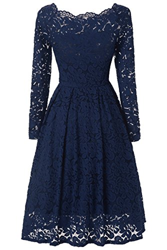 JUSOE Women's Vintage Dress, Sexy Lace Swing Dress, Long Sleeves Cocktail Formal Dresses For Wedding Bridesmaid Plus Size Navy Blue X-Large US 14-16