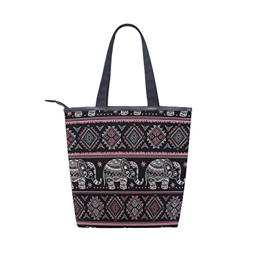 MyDaily Shoulder Elephant Canvas African Ethnic Tribal Tote Handbag Womens Bag Axr0AB