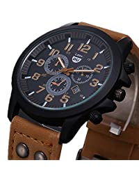 Baishitop Mens Waterproof Watch, Vintage Classic,Sport Quartz,[Army,PU Leather Strap] (Brown)