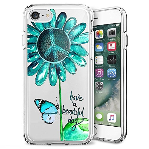 Case for iPhone 7 8 Green Peace Sign Butterfly Art,ChyFS Phone Clear Case,Crystal protective Case