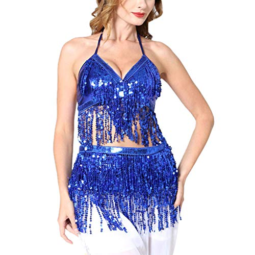 Lady Salad Fork - Mysky Women Sexy Sequin Tassel Backless Lace Up Tops+Perspective Bandage Skirt Solid Color Prom Party Dance Clothes Blue