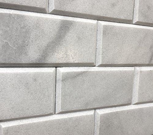 3x6 Beveled Honed Gray White Carrara Subway Marble Tiles (Beveled Tile Flooring)