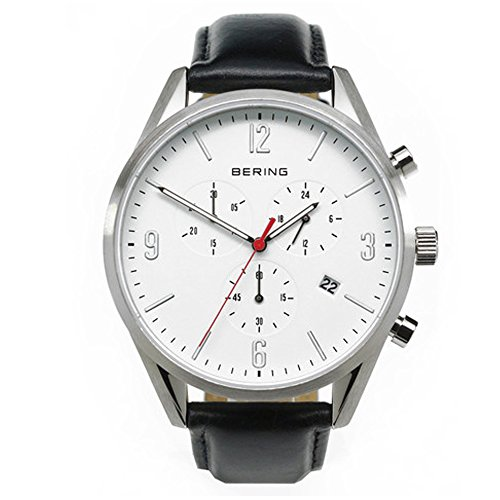 BERING Time 10542-404 Mens Classic Collection Watch with Calfskin Band and scratch resistant sapphire crystal. Designed in Denmark.