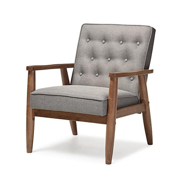Baxton Studio Sorrento Mid-Century Retro Modern Fabric Upholstered Wooden Lounge...