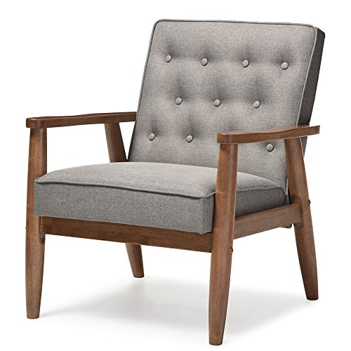 Baxton Studio Sorrento Mid-Century Retro Modern Fabric Upholstered Wooden Lounge Chair, Grey (Style Pottery Barn Chair)