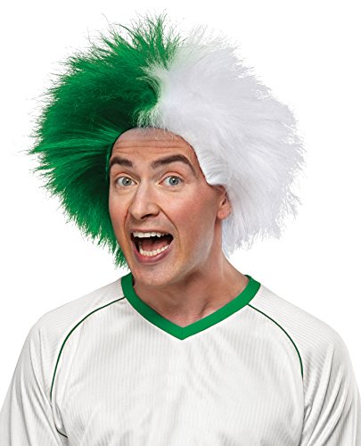 Crazy Sports Fan Wig color Green & White - Fun Spiky Eagles Jets Whalers Bearcats Dartmouth Jaspers HawksTeam Troll Style -