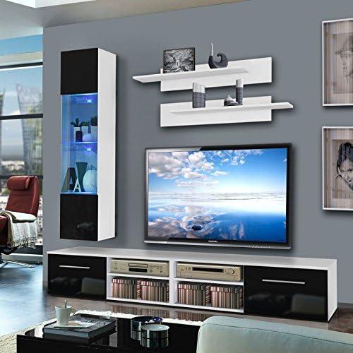 Paris Prix Mueble TV pared invento VI 240 cm negro & blanco ...