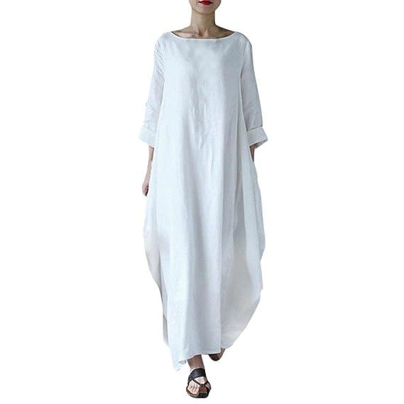 Équipage Solide Boho Longue Grande Robe Maxi Lin Tunique Lâce Manches Chic En Ample Large Décontractée 34 Femme Style Vrac Casual A Taille Cou 54jARL