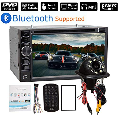 """2 Din Car Stereo Bluetooth 6.2"""" Touch Screen with Backup Camera Rear View, Mirror Link/USB/SD/AM/FM Audio Video Player + Steering Wheel Control"""