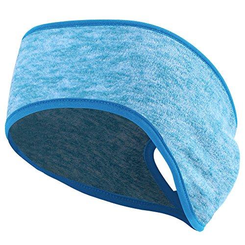MIFULGOO Women's Ponytail Headband Ear Warmer Head Wrap Yoga Hair Band Running Sweatband (Cyan)