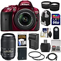 Nikon D5300 Digital SLR Camera Kit (Red) with 18-55mm VR II Lens, 55-300mm VR Lens and Accessories (15-Item) At A Glance Review Image
