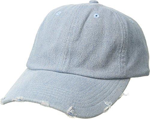 (San Diego Hat Company Women's Denim Distressed Brim Baseball Cap, Denim, One Size)