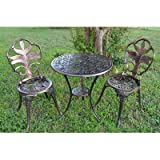 3 Piece Outdoor Bistro Set Includes:1 Table and 2 Chairs in Antiqued Bronze Finish Made of Cast Iron/Aluminum and Manufactured Wood Table Top 26.5'' H x 23'' W x 23'' L in.