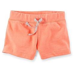 Carter's Little Girls French Terry Shorts (6X Kids, Peach)