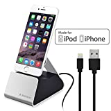 Avantree Desktop Aluminum iPhone Charging Dock with Apple Mfi Certified Lightning Sync Charge Cable, Charger Stand Cradle Station for iPhone 8, 8 Plus, 7, 6s, 6, iPod Touch [2 Year Warranty]
